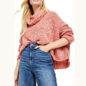 free people bff cowl neck sweater in scarlet flame